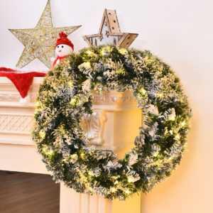 Weihnachtskranz LED Türkranz schneebedeckt Kiefernkranz Weihnachten Garland