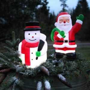 LED Weihnachtsmann o. Schneemann Timer Außen 5 LEDs 28x18cm Weihnachtsdeko
