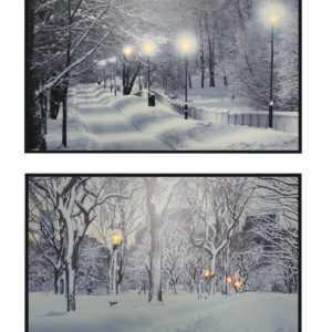 LED Wintermotiv Bild Weihnachten Fensterbild Leinwand Dekoration Holz Wandbild