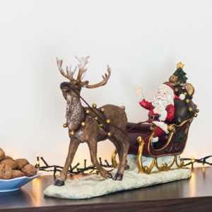 Weihnachtsmann mit Schlitten Deko Figur Weihnachten innen glimmer 50 cm