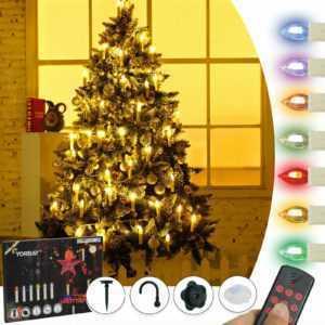 40 LED Weihnachtskerzen kabellos Christbaumkerzen Warmweiß RGB Lichterkette Set