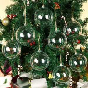 40PCS CLEAR PLASTIC BALLS CHRISTMAS BAUBLES SPHERE FILLABLE XMAS TREE ORNAMENT