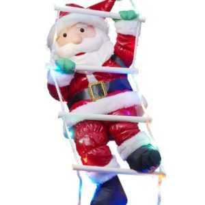 Kletternder Weihnachtsmann auf LED Strickleiter Nikolaus Weihnachtsdeko Hängend