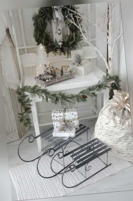 Schlitten Dekoschlitten groß Weihnachtsschlitten Metall Shabby Chic Vintage