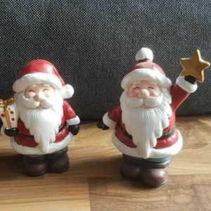 Deko Figur Set 2-teilig Weihnachtsmann aus Keramik 15cm Weihnachtsdeko ???