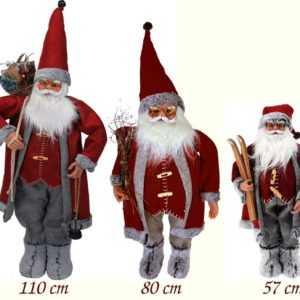 Weihnachtsmann Figur Rot/Grau  Nikolaus XXL Dekofigur Weihnachten Weihnachtsdeko
