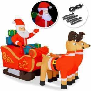 KESSER® Aufblasbarer Weihnachtsmann mit Schlitten XXL Deko LED beleuchtet IP44