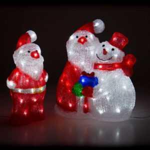 Weihnachtsbeleuchtung LED Acryl Deko Figur Weihnachtsmann Nikolaus Schneemann
