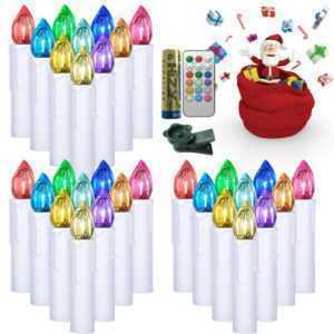 30X Kabellose LED Weihnachtskerzen RGB Lichterkette Kerzenlichter mit Batterie