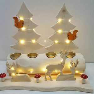 Weihnachts DEKO Adventskranz Teelichthalter Äste Baum HOLZ 40er LED Natur NEU