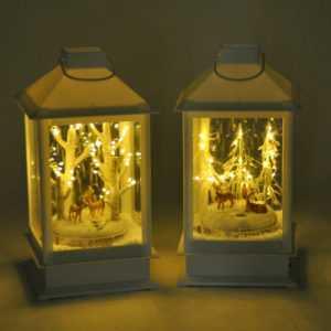 LED-Laterne schneiender Winterwald Weihnachtsdeko Fensterdeko Tanne Rehe Hirsche