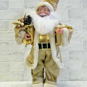 großer 50cm Weihnachtsmann Gold Santa Claus Nikolaus Geschenk Winter Deko Figur