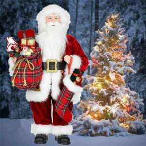 """24"""" 60cm Hoch Weihnachtsmann Figur Nikolaus Santa Claus Weihnachtsdekoration NUE"""