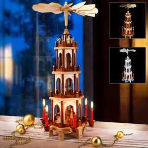 Weihnachtspyramide Tischpyramide Weihnachten Pyramide Holzpyramide Deko Kerzen