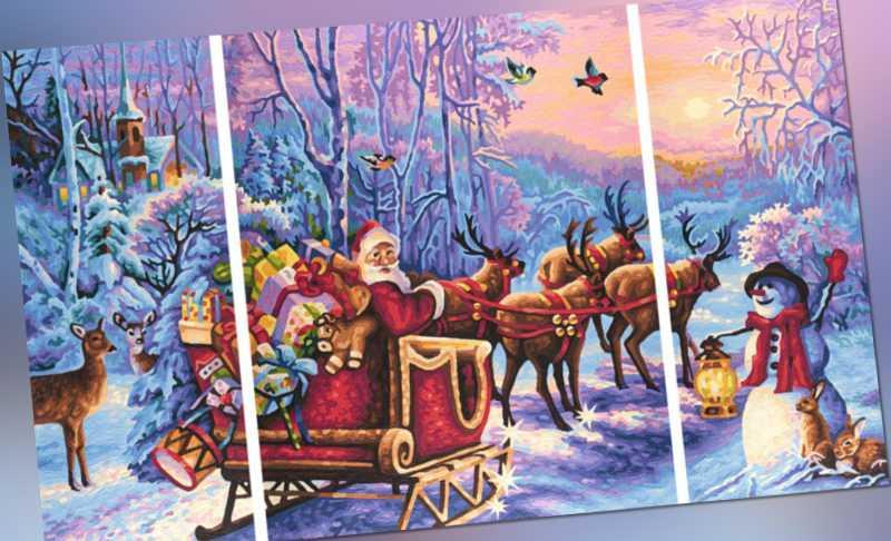 Schipper 609260758 Der Weihnachtsmann kommt Malen nach Zahlen Triptychon