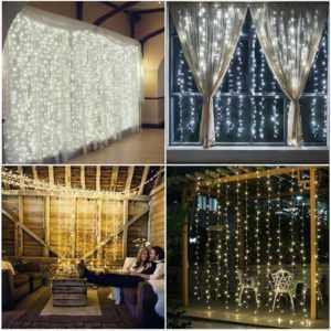 100-600 LED Lichtervorhang Weihnachten Lichterkette Fenster Lichtervorhang IP65; EEK A++