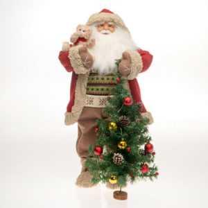 82cm Weihnachtsmann Deko Teddybär Figur LED Weihnachtsbaum Santa Weihnachtsdeko