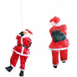 Weihnachtsmann am Seil 180cm Weihnachts Deko Weihnachten Figur Nikolaus Leiter