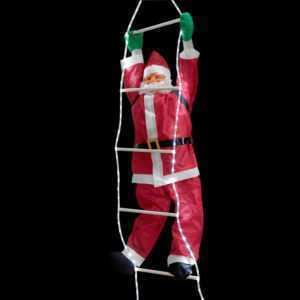 Weihnachtsmann auf Leiter 250cm LED Beleuchtet Lichter Deko Weihnachten Nikolaus