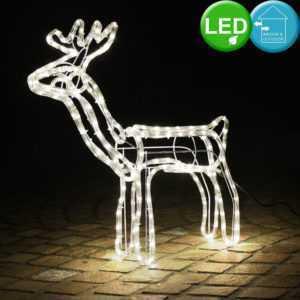 LED Leucht Rentier Garten Weihnachts Deko Außen Lichter Schlauch Tier Figur