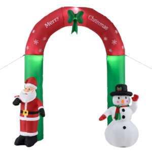 Weihnachtsbogen 240cm LED Beleuchtet Weihnachten Weihnachtsmann Aufblasbar Deko