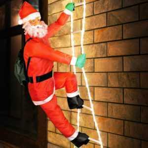 Weihnachtsmann Leiter LED 240cm Nikolaus Weihnachten Deko beleuchtet Santa Claus