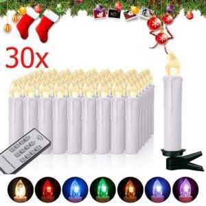 30 Kabellose LED Kerzen Weihnachtskerzen RGB Außen Lichterkette Christbaumkerzen