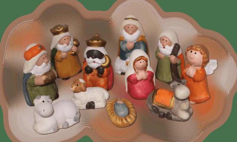 11-teiliges Set Krippenfiguren 7,5 cm Weihnachtskrippe Weihnachtsfiguren Keramik