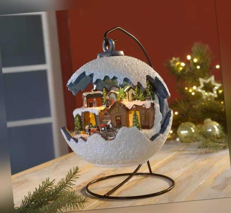 Weihnachtskugel mit LED Licht fahrendem beleuchtet Zug und Musik incl. Batterien