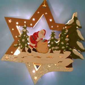 doppeltes Fensterbild Stern aus Holz Weihnachtsmann mit LED Beleuchtung 30cm neu; EEK A+++