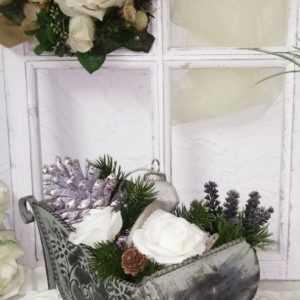 Dekoschlitten Weihnachtsschlitten Schlitten grün Metall Shabby Chic Vintage 30cm; EEK A