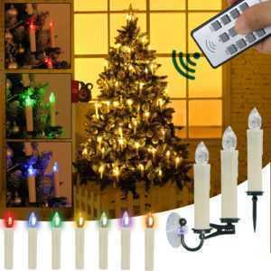 Kabellose LED Weihnachtskerzen Weihnachtsbaum warmweiß& RGB Kerzen Lichterkette; EEK A+