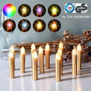 Gold LED Weihnachtskerzen Kabellos Weihnachtsbeleuchtung Lichterkette Baumkerze