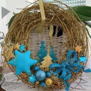Türkranz Weihnachten Tannenbaum Advent goldfarben türkis Weihnachtsdeko Sterne