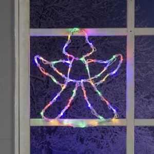 LED Fenster-Silhouette Engel 35 Lichter 230V Bunt blinkend Fensterbild Weihnacht