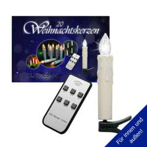 LED Weihnachtskerzen 20er Set kabellos für Außen u. Innen, inkl. Batterien (NEU)