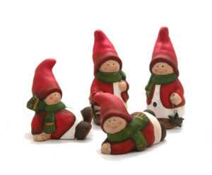 4 x Weihnachts Wichtel aus Keramik Deko Weihnachten je 12,5 cm Geschenkidee