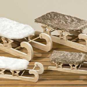 Deko-Schlitten Winterdeko Weihnachtsdeko Holz weiß braun versch. Größen