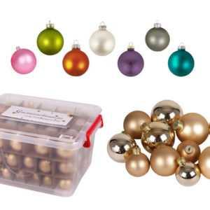 Glas-Weihnachtskugel-Set 72tlg + Box Weihnachtsbaumkugeln Christbaumschmuck Deko