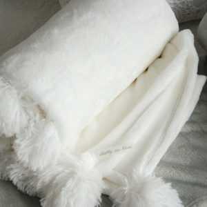 Kuscheldecke Weiß Plüschdecke Tagesdecke Couchdecke Decke Landhaus