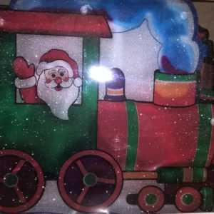 Fenstersilhouette Fensterbild Fensterlicht Leuchtbild Lichterkette Weihnachtszug