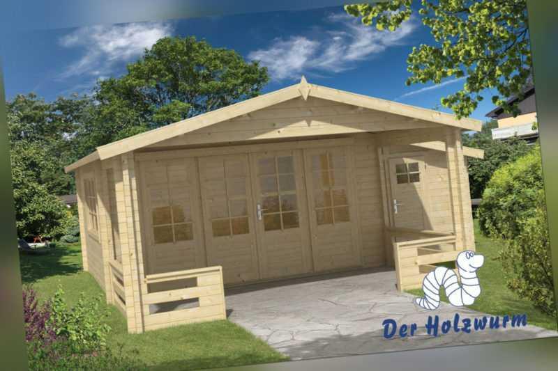 58 mm Gartenhaus 590x340 cm Blockhaus Gerätehaus Holzhaus Holz Schuppen