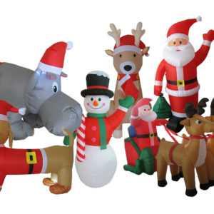 Weihnachtsmann 195cm Aufblasbar LED Deko Weihnachten 6 Motive Innen / Außen