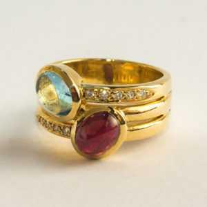 Ring Goldring 10 Diamanten Schmuckstein 585er Gelbgold Gold 14 Karat 10,95 Gramm