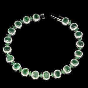 925 Sterling Silber Armband, Weißgold beschichtet, Smaragd & Cubic Zirconia, Neu