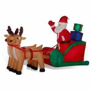 Rentier-Gespann Rentierschlitten Weihnachtsmann beleuchtet 240x140 cm aufblasbar