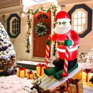 Led Weihnachtsmann Nikolaus Aufblasbar Beleuchtet Weihnachtsdeko außen groß