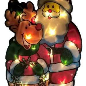 Fenstersilhouette Fensterbild Fensterlicht Leuchtbild Weihnachtsmann mit Elch