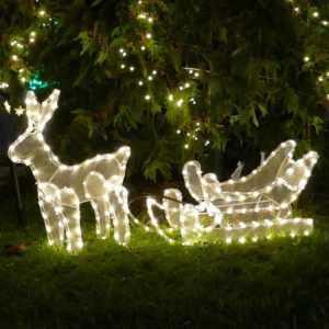 Rentier mit Schlitten von 216 LED warmweiß beleuchtet Rentierschlitten außen