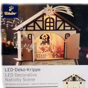 Tchibo TCM Deko Krippe LED mit Spieluhr Weihnachtskrippe aus Holz
